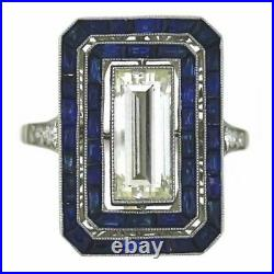 Beautiful Dark Blue Sapphire With Old European Cut CZ Vintage Style Women's Ring