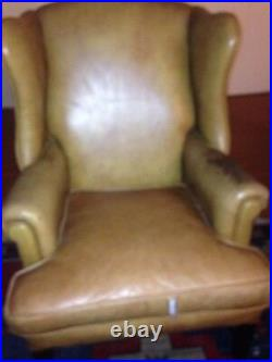 Biege Leather Wing Back Chair Studded Chippendale Style 103 years old WW1 period