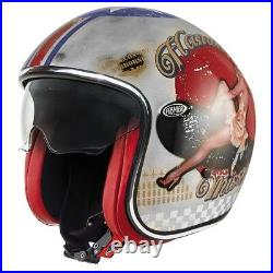 Casco Helmet Jet Vintage Pin Up Old Style Silver Premier Size L