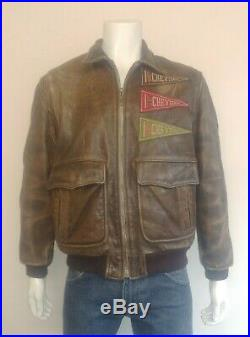 Charles Chevignon Old Flight A-2 Style Leather Flying Jacket with patches Size M