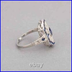 Classic Edwardian Style Fancy Cut Blue Sapphire & Old Mine Cut CZ French Ring