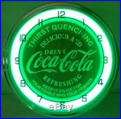 Coca Cola Logo Vintage Retro Old Style 15 inch Neon Light Wall Clock Sign Green