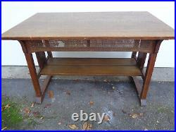 GREAT STICKLEY BROS. TRESTLE STYLE TABLE With CUTOUTS & OLD FINISH, EXCELLANT