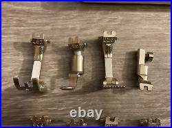 Genuine Vintage Bernina Old Style Presser Foot Lot- 10 Styles + Case Bobbins