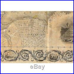 Giant vintage New York City Map Old Antique Restoration Hardware Style 1836 NYC