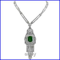Gorgeous Mid-Century Vintage Style Old European Cut CZ & Green Emerald Necklace