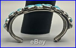 Great, Old, Vintage Turquoise & Sterling Silver Cluster Style Cuff Bracelet