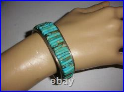 Great Vintage Navajo old pawn turquoise sterling silver bracelet Loloma style