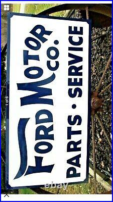 Hand Painted Antique Vintage Old Style FORD MOTOR CO Parts Service 36 Wh Sign