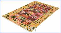 Hand woven Turkish Kilim 5'10 x 8'10 Old Style Flat Weave Rug
