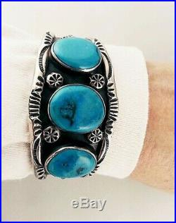Heavy Old Vintage Pawn Style Sterling & Turquoise Bracelet-intense Blue Stones