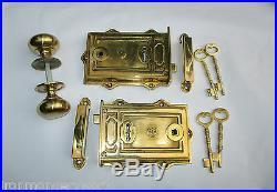 Heavy Solid Brass Davenport Vintage Old Victorian Style Rim Door Lock
