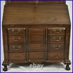 Kittinger Old Dominion Mahogany Chippendale Style Secretary Desk w Bookcase