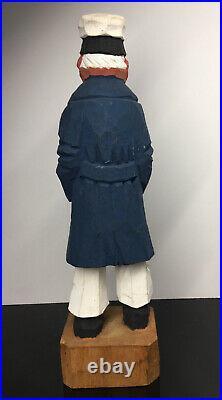 LARGE Vintage Wood Carved Captain Sailor'Old Man' Statue Lamontagne Style