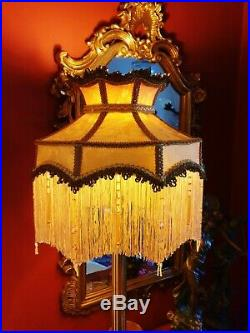 Langham, Victorian Vintage Style Beaded Lampshade. Vintage Old Gold Damask. 14