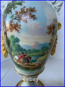 Large Antique Old Paris Pair of Porcelain Vases Sevres Style