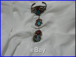 Large Turquoise Coral Indian Native Bracelet Slave style Signed OLD vintage