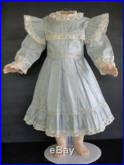 Light blue silk french Doll Dress Antique Style for 24-26 doll old or Modern