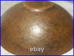 Lrg Arts And Crafts Hammered Copper Bowl Mission Style Antique Old Vtg Nice