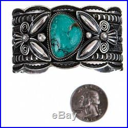 Navajo Bracelet Turquoise Sterling Silver ANDY CADMAN Old Pawn Style Vintage