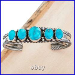 Navajo Turquoise Bracelet BLUE FOX Sterling Silver Row Cuff Vintage Old Style