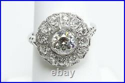 Near 1 Carat Center Old European +. 47 TW Side Diamonds Platinum Vintage Style