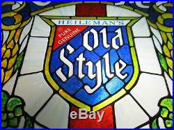 New Vtg 1979 Old Style Beer Led Upgraded Faux Stained Glass Bar Light Pub Sign