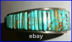 Nice Vintage Navajo old pawn turquoise sterling silver men bracelet Loloma style