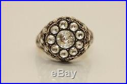 OLD CROW'S FEET 14k GOLD ROSE CUT DIAMOND OTTOMAN STYLE PRETTY STRONG RING