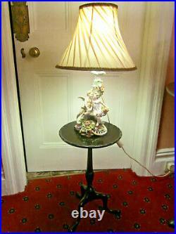 Old Antique Georgian Style Mahogany Tripod Lamp Wine Table C1910