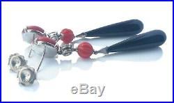 Old European Cut Diamond Art Deco Style 18k Onyx Vintage Coral Pendant Earrings