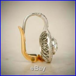 Old European Cut Diamond Halo 14k Gold Over Earrings Vintage Style Earrings