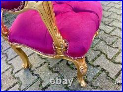 Old French Louis XVI Style Sofa set in Gobelin and Fuchsia Velvet 5 pcs