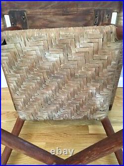 Old Hickory Table, Original, 50s Mid-century, Adirondack Style, Indiana, Rattan Shelf