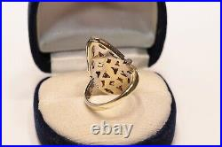 Old Navette Art Deco Style 14k Gold Natural Diamond And Caliber Ruby Ring