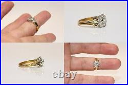 Old Original Vintage 14k Gold Natural Diamond Decorated Rose Style Ring