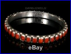 Old Pawn Vintage Leo Feenley Don Lucas Style Sterling Red Coral Bangle Bracelet