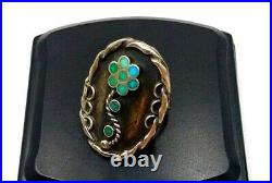 Old Pawn Zuni Dishta Style Ring Size 7.5 Snake Eye Turquoise Sterling Silver VTG