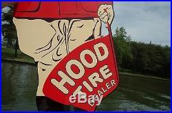 Old Style 36 Hood Car Tire Dealer Flagman Rare Dicut Vintage Type Sign USA Made