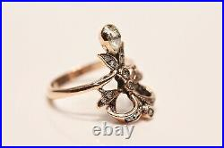 Old Style 8k Gold Art Nouveau Design Natural Diamond And Rose Cut Diamond Ring