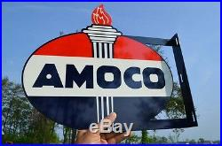 Old Style Amoco American Motor Oil & Gas Torch Vintage Type Steel Flange Sign