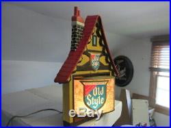 Old Style Beer Sign Rare Motion Heileman House Rotating Chalet Old Vtg Bar Pub