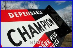 Old Style Champion Spark Service Plug Bowtie Vintage Type Flange Sign USA Made