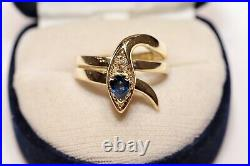 Old Vintage 18k Gold Natural Diamond And Sapphire Decorated Snake Style Ring