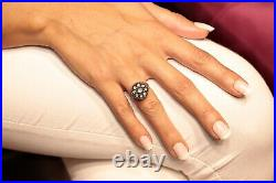 Old Vintage 8k Gold Natural Rose Cut Diamond Deorated Ottoman Style Ring