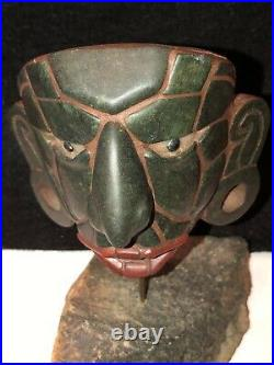 Old Vintage Carved Stone Mexican Aztec Inca Mayan Style Face Sculpture