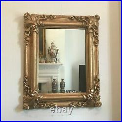 Old Vintage French Style Elegant Gold Decorated Wall Mirror 22 x 18 1/4 inches
