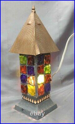 Old Vintage Mid Century Modern Peter Marsh Style Leaded Chunk Rock Glass Lamp