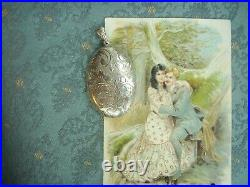 Old Vintage Sterling Silver Large Engraved Victorian Style Photo Locket Pendant