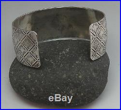 Old Vintage Victorian Style Sterling Silver Southwestern Design Cuff Bracelet
